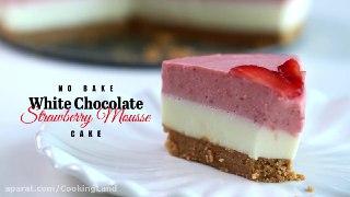 بدون نیاز به موس کیک ۳ لایه شکلاتی توت فرنگی