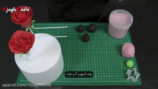تزئین کیک پاپ گل رز