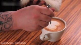 تزیین قهوه لاته بخش سوم