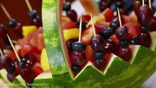 تزیین هندوانه به شکل سبد مخصوص شب یلدا
