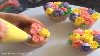 تزیین کاپ کیک به شکل سبد گل