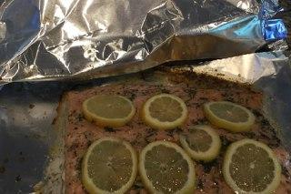 تصویر ماهی سالمون و شوید