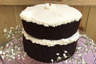 تصویر کیک شکلات تلخ خامه ای