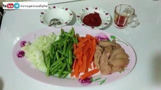 خوراک لوبیا سبز با مرغ و رژیمی بانوی با سلیقه