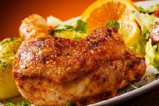 خوراک مرغ سرخ شده بافر