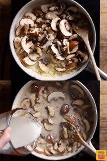خوش کاری با مرغ و قارچ