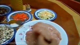 رولت مرغ و سبزیجات