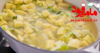 سوپ تره فرنگی و سیب زمینی