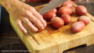 سیب زمینی سرخ شده با پنیر پارمسان