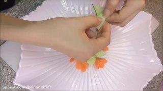 میوه آرایی تزیین آسان خیار به شکل گل
