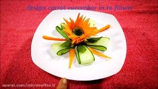 میوه آرایی طرح گل با هویج و خیار