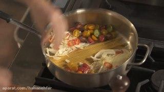 پاستا سبزیجات در ۱۰ دقیقه آسان و