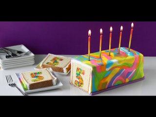 کیک سوپرایز رنگین کمانی