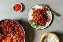 خوراک بادمجان و نخود