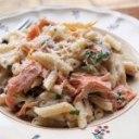 بادمجان و ماهی کولی همراه با پاستا