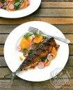 ماهی ماکرل اسپایسی با سالاد تربچه و پرتقال